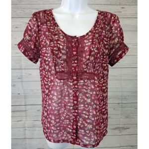 3/25American Eagle Floral Blouse Sz Small Sheer